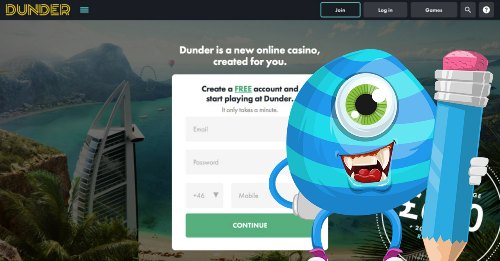 Easy and fast to register with Dunder caisno